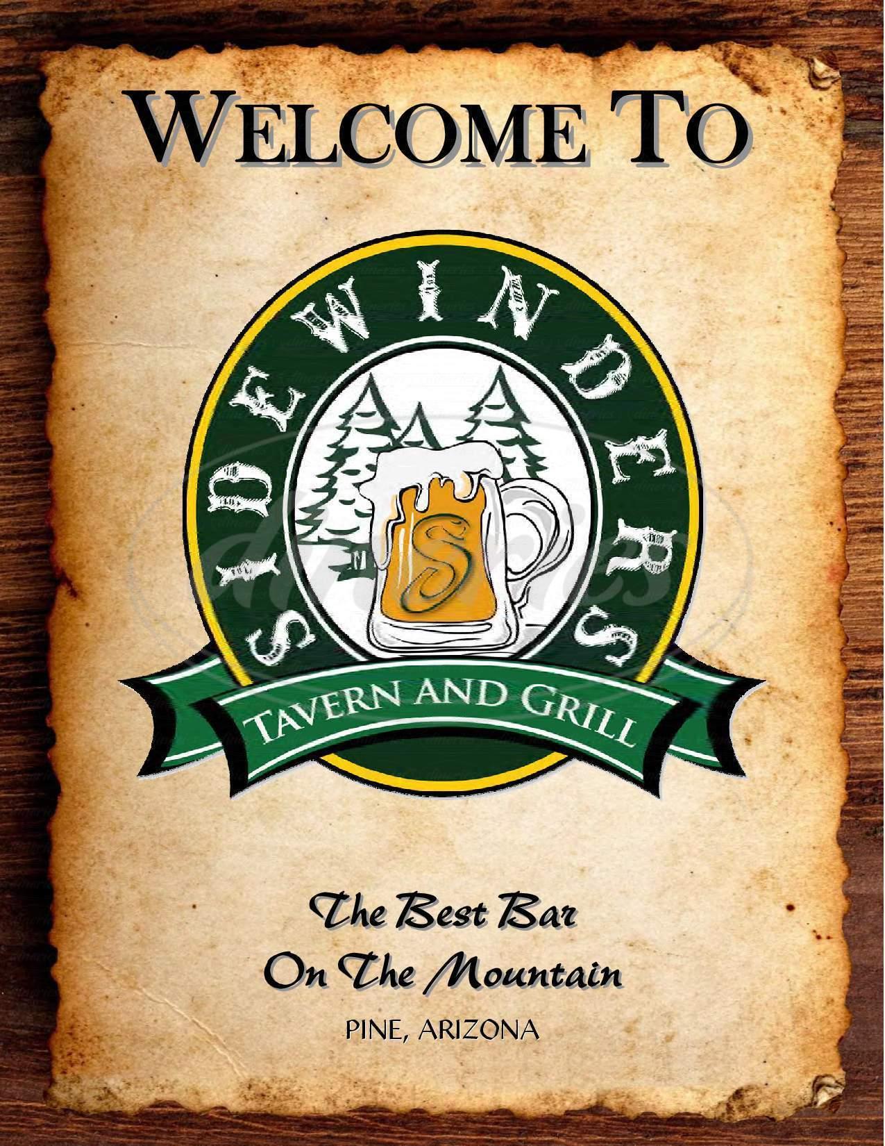 menu for Sidewinders Saloon