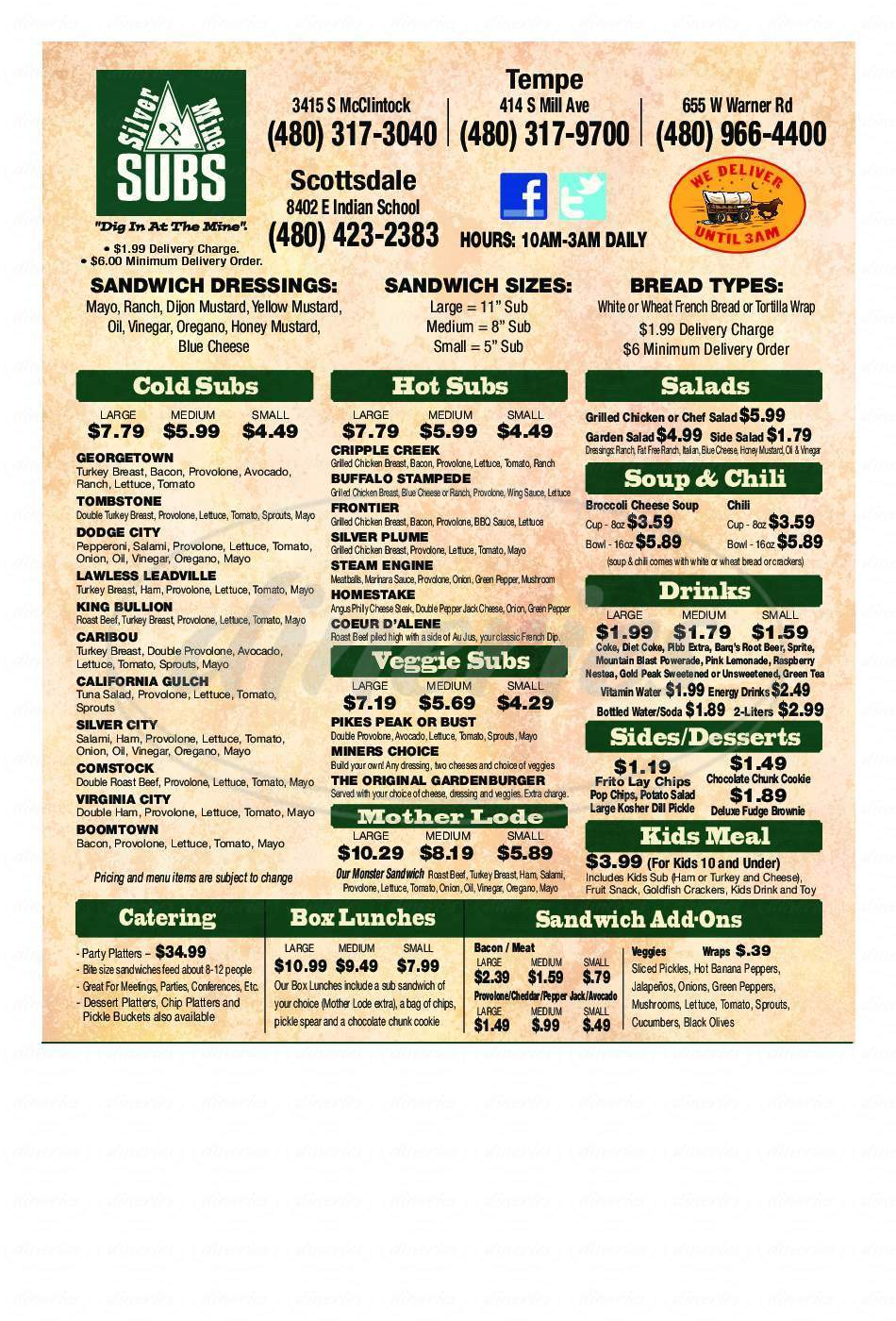 menu for Silver Mine Subs