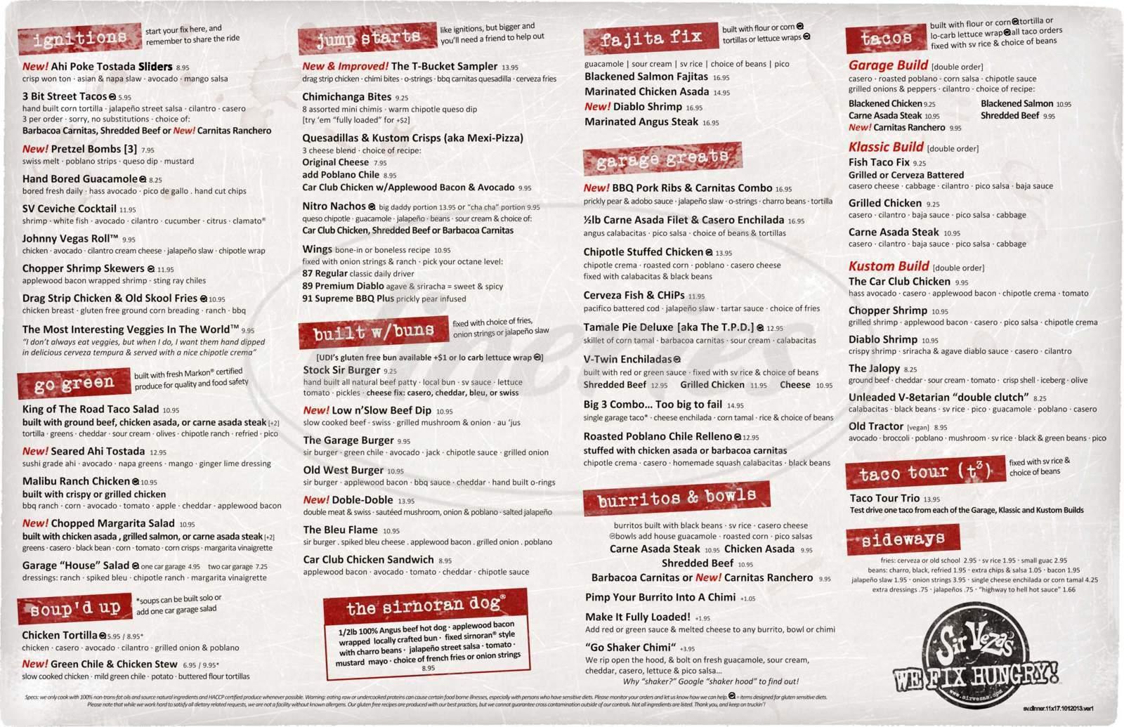 menu for Sir Veza's Taco Garage