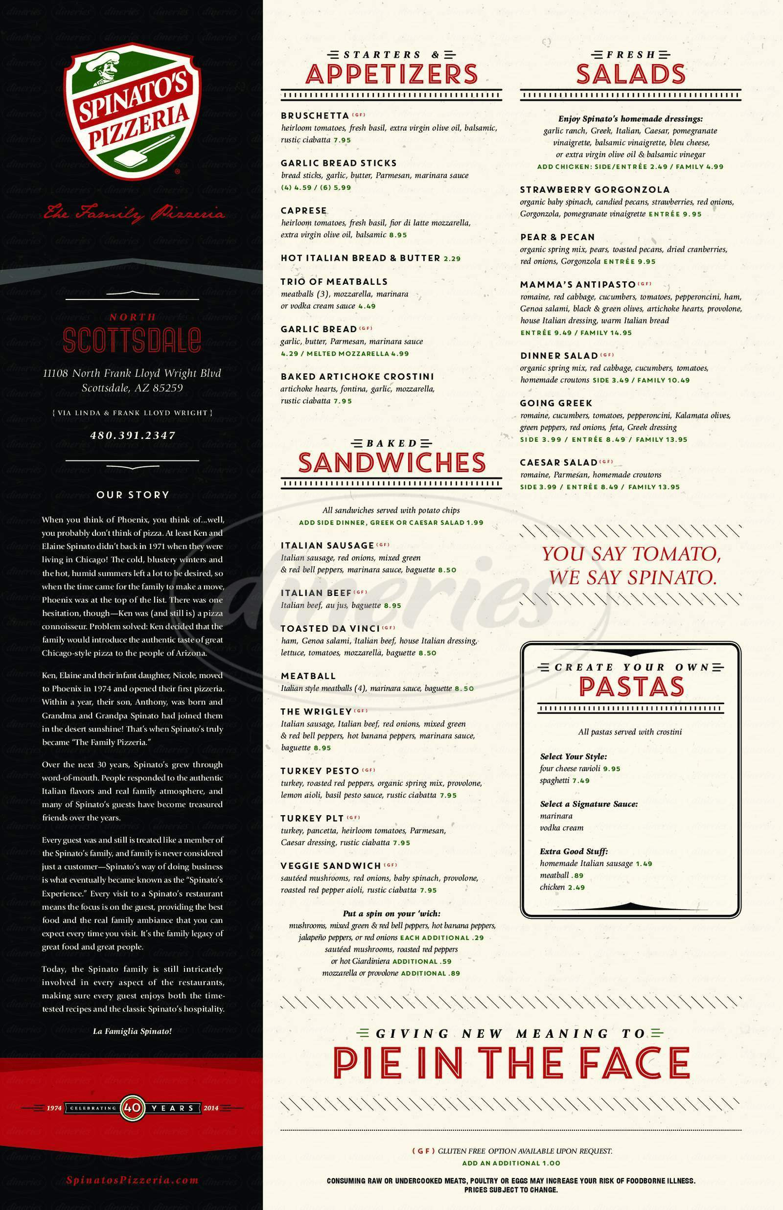 menu for Spinato's Pizza