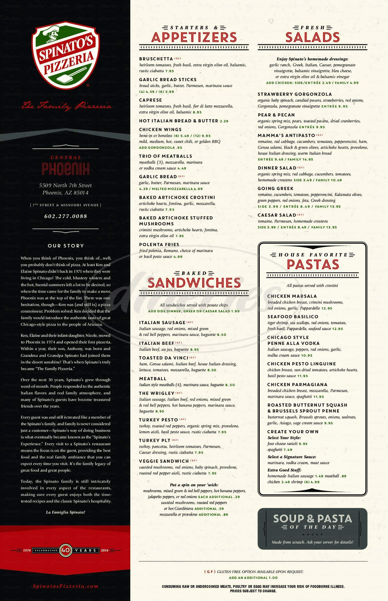 menu for Spinato's Pizzeria