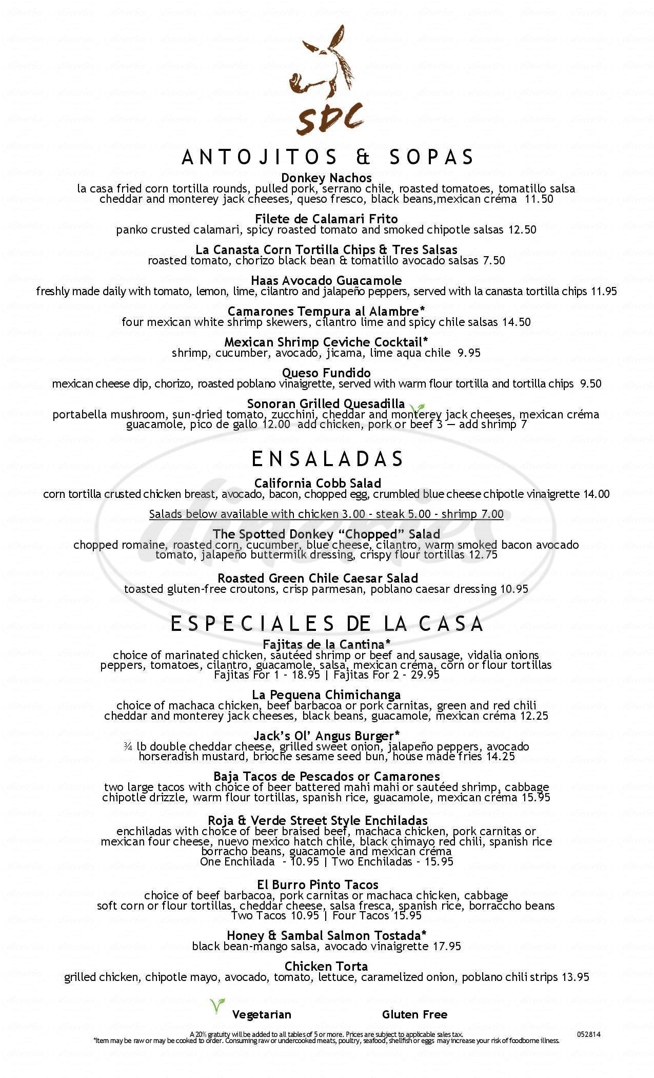 menu for Spotted Donkey Cantina, el Pedregal