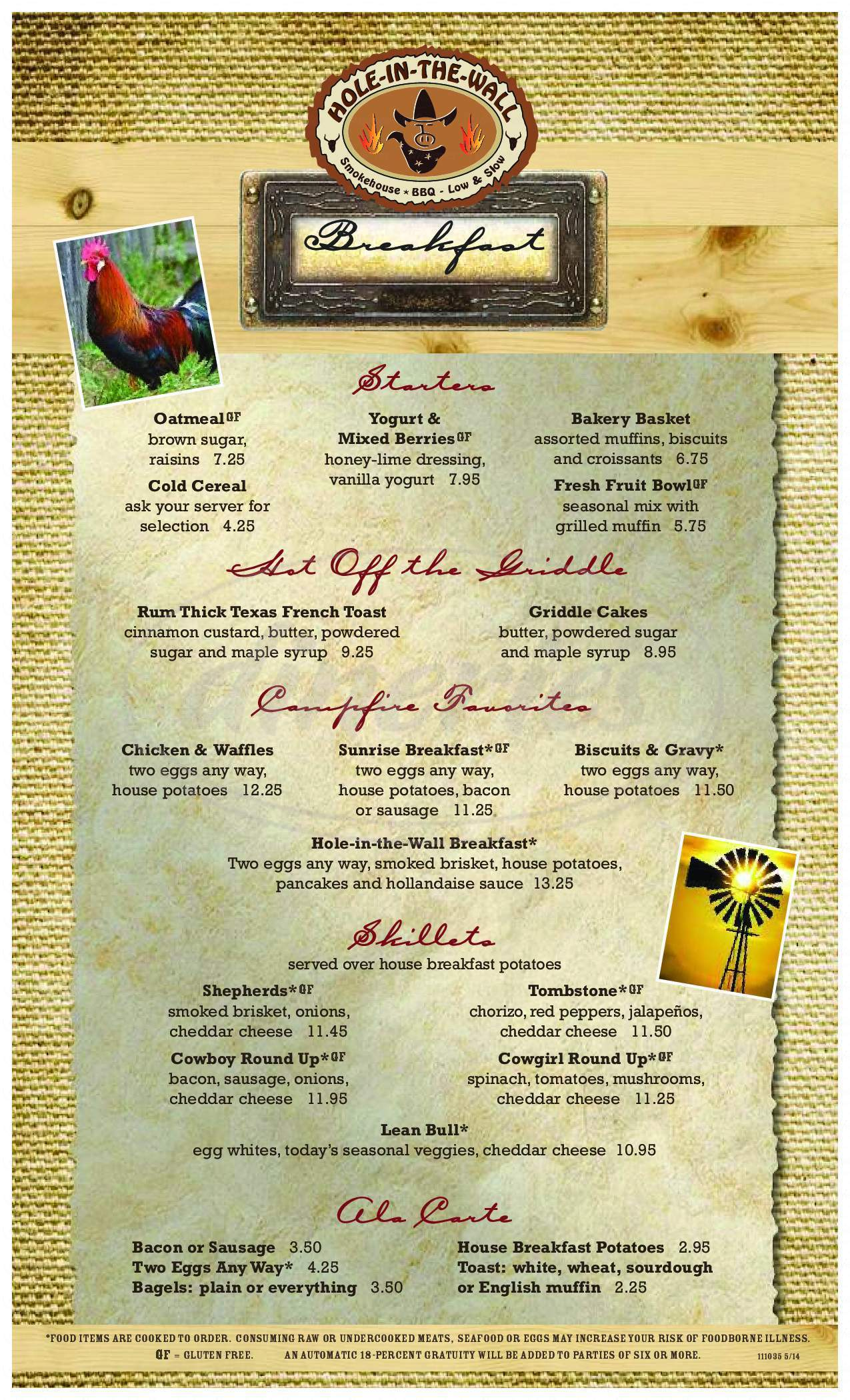 menu for Hole-in-the-Wall