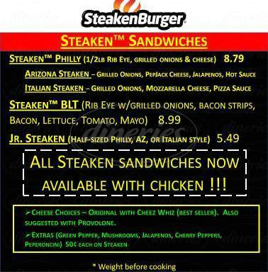 menu for SteakenBurger / Long Wongs Wings