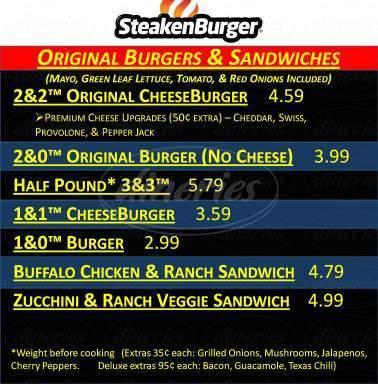 menu for SteakenBurger / Long Wongs Wings