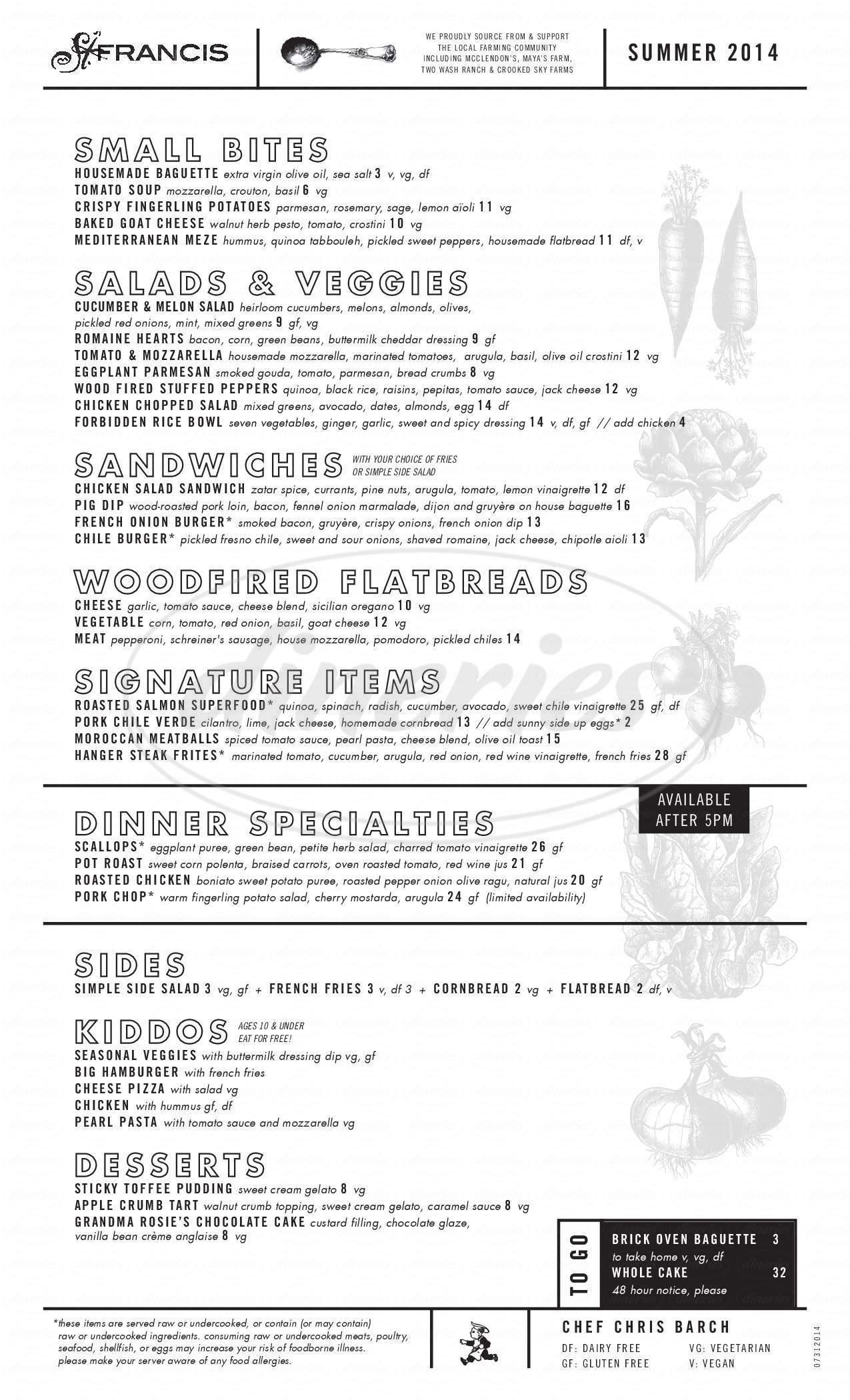 menu for St Francis Restaurant
