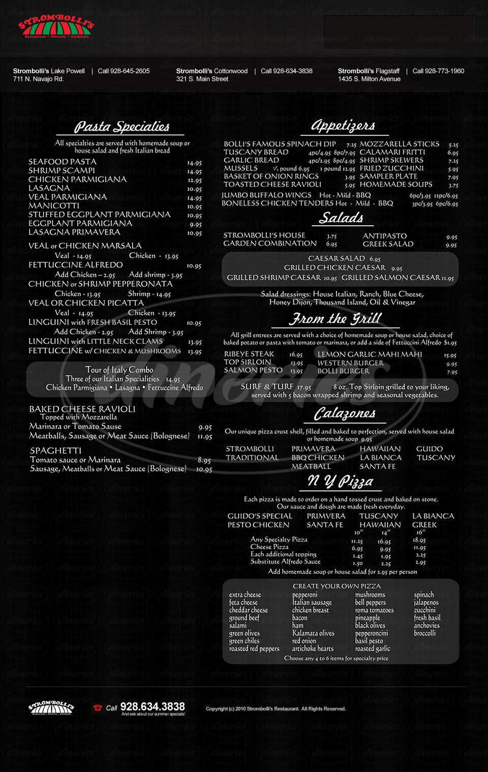 menu for Strombolli's