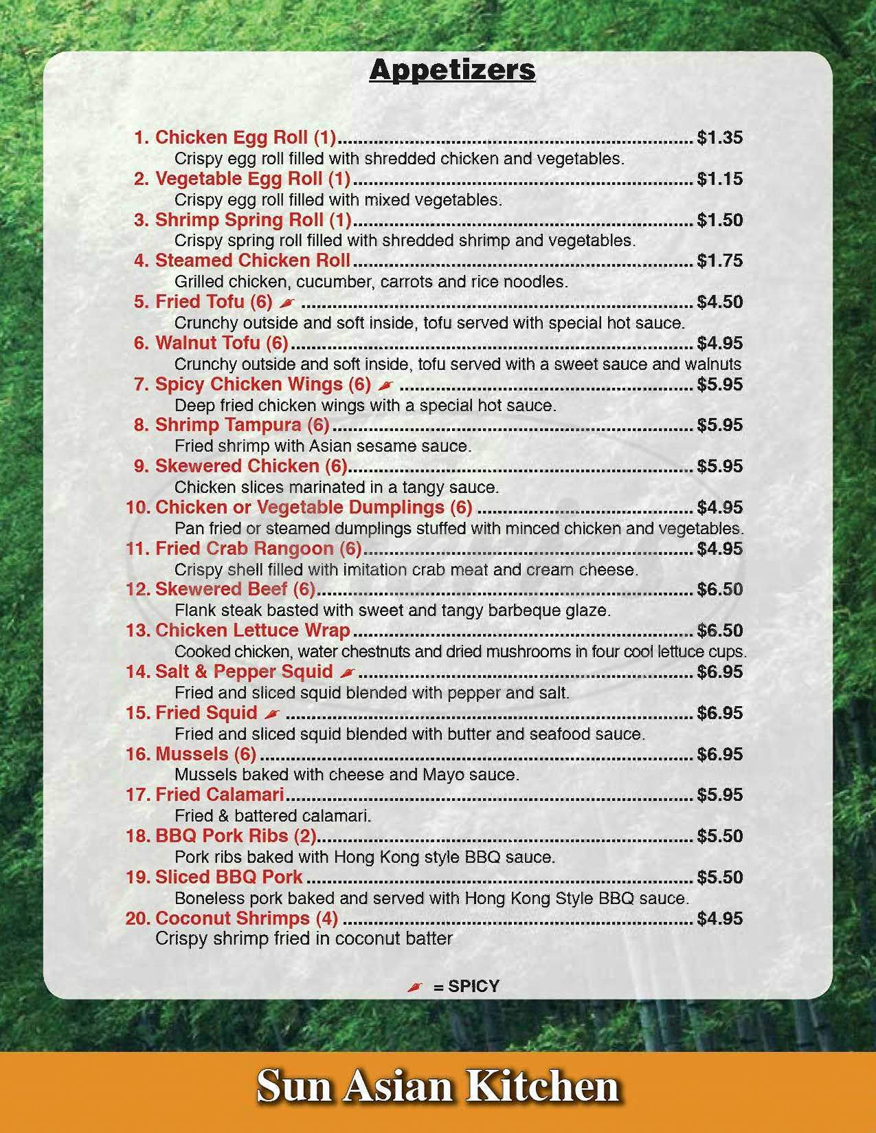 sun asian kitchen menu phoenix dineries - Sun Asian Kitchen