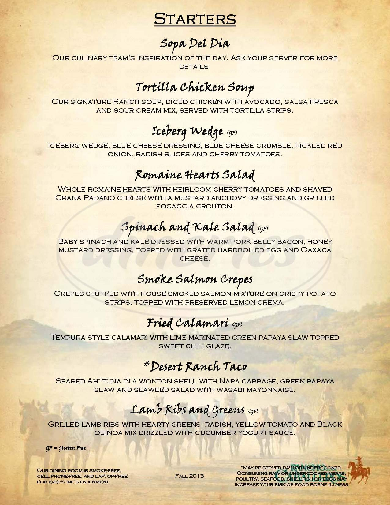 menu for Rancho De Los Caballeros