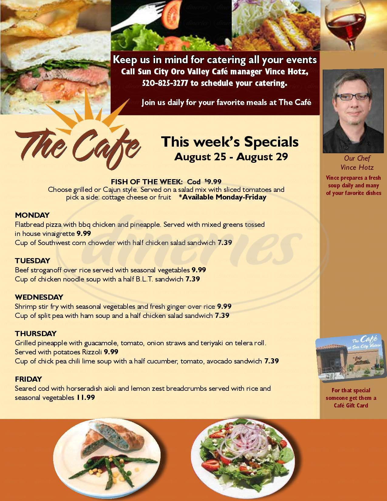 menu for The Cafe at Sun City Oro Valley