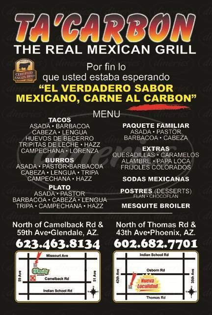 menu for TaCarbon