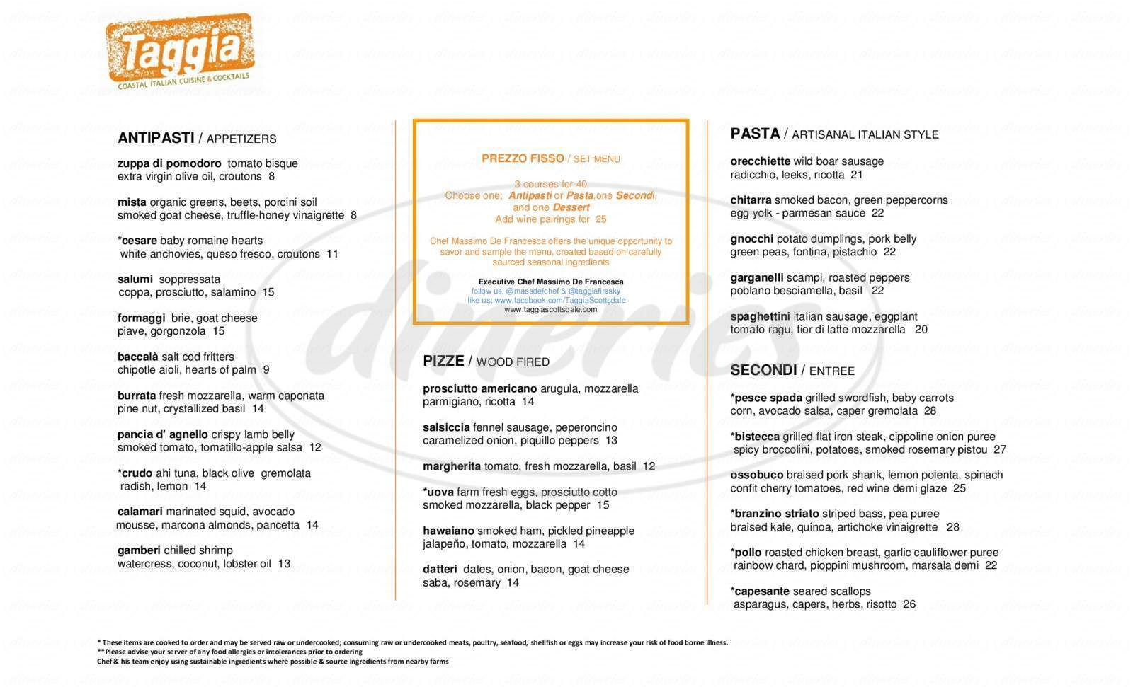 menu for Taggia