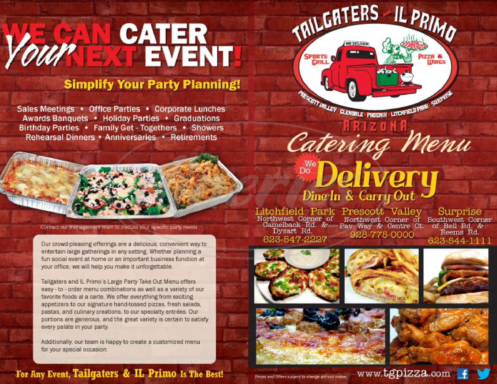 menu for Tailgaters and Il Primo Pizza & Wings