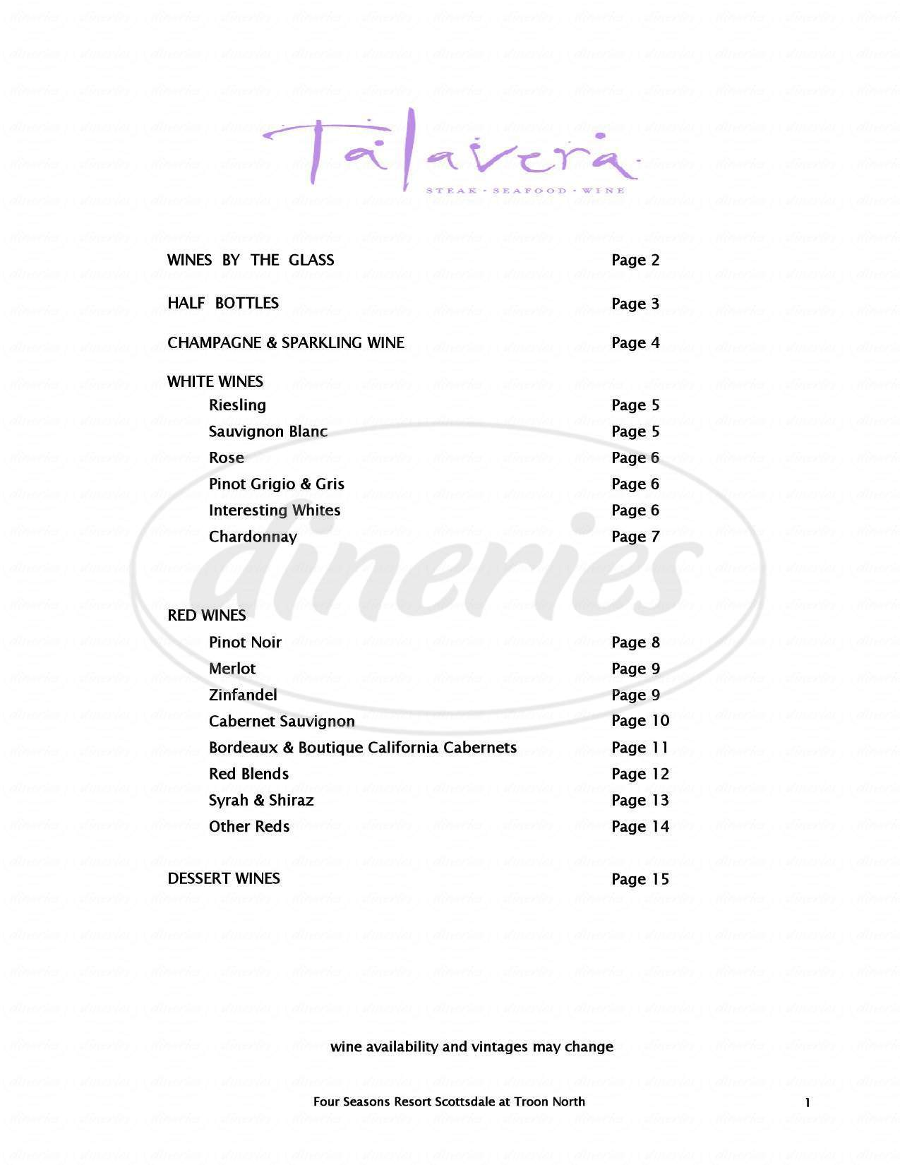 menu for Talavera