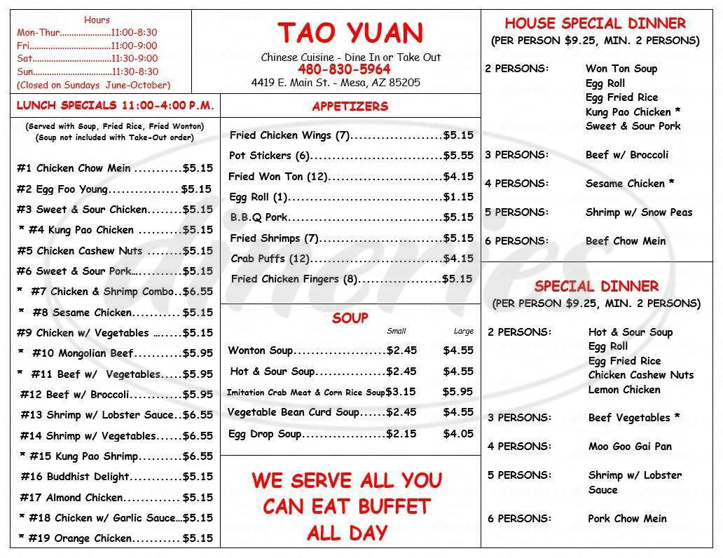 menu for Tao Yuan Chinese Restaurant