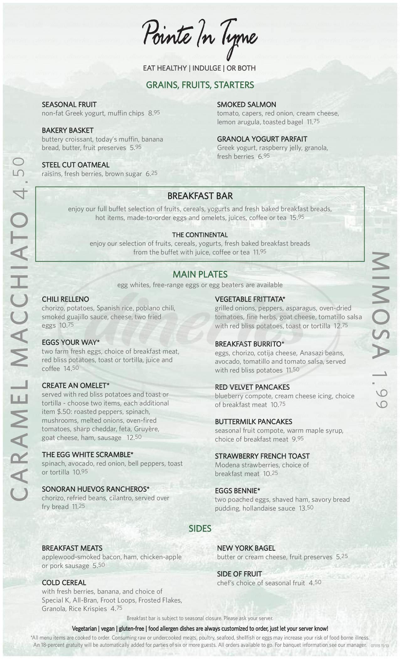 menu for Pointe In Tyme