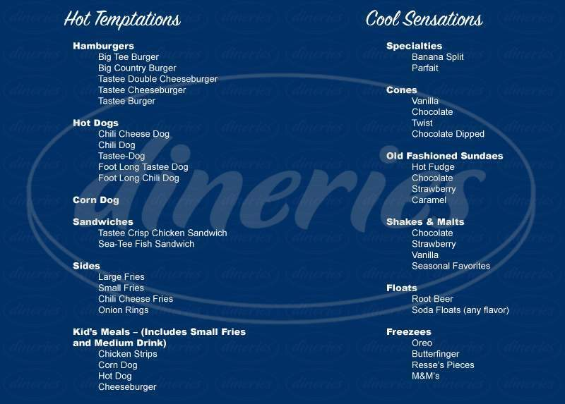 menu for Tastee Freez