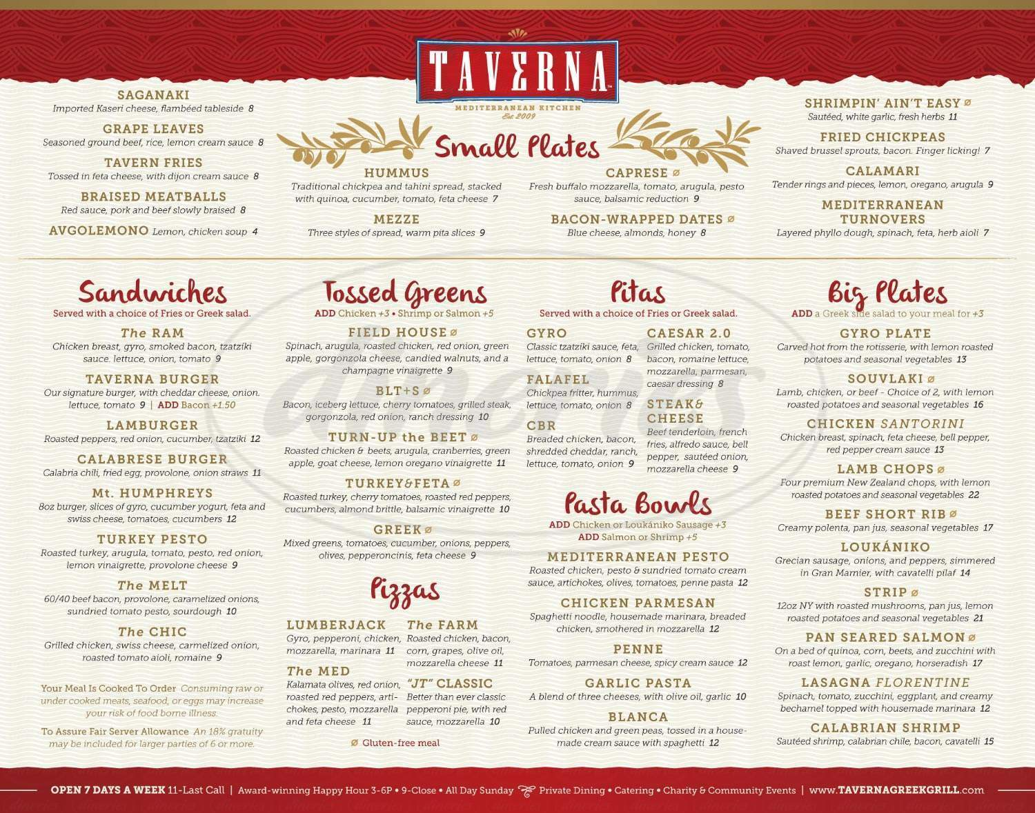 menu for Taverna Greek Grill