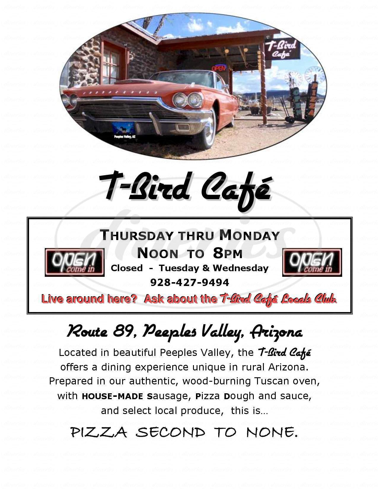 menu for T Bird Cafe