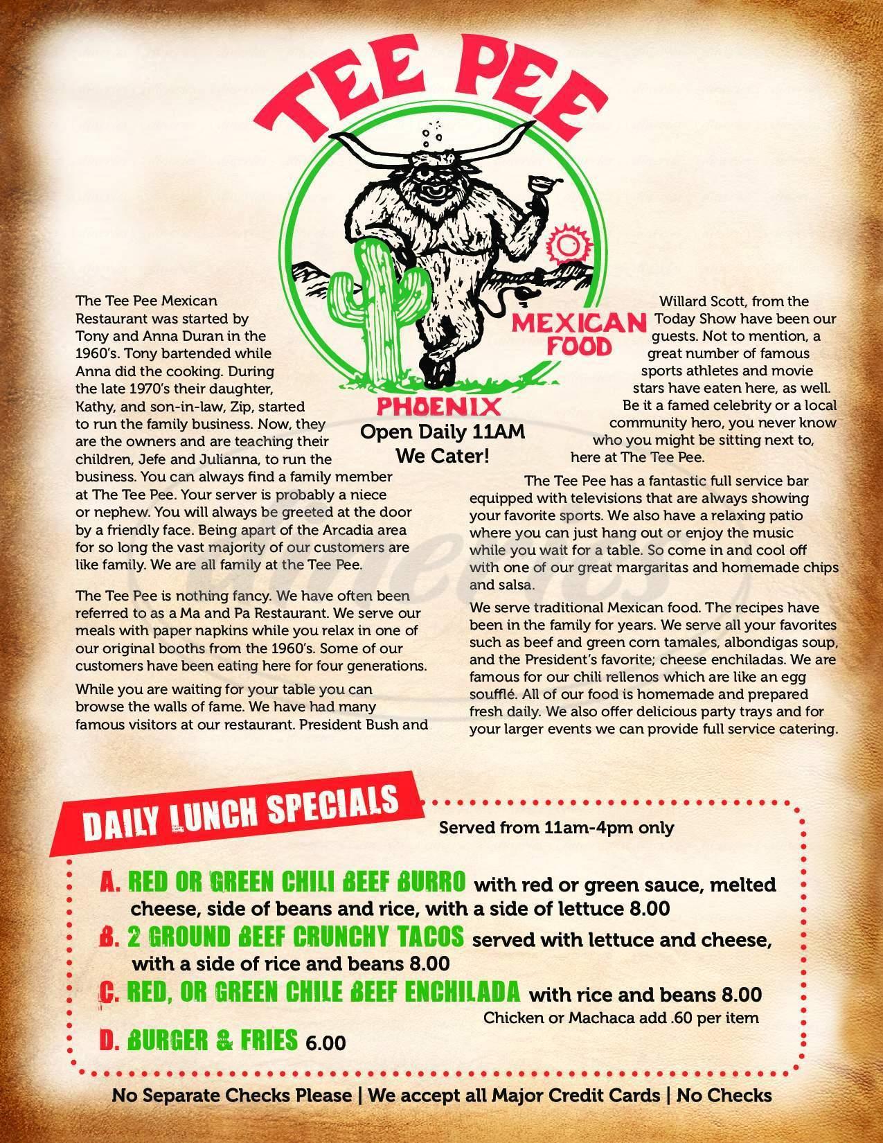 menu for Tee Pee Mexican Food