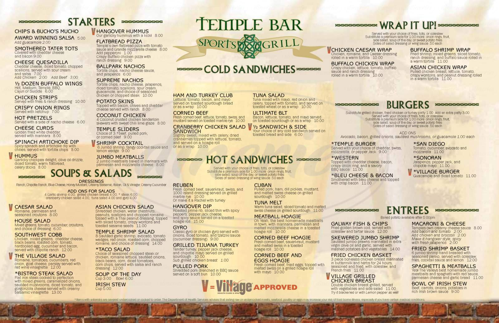 menu for Temple Bar Sports Grill