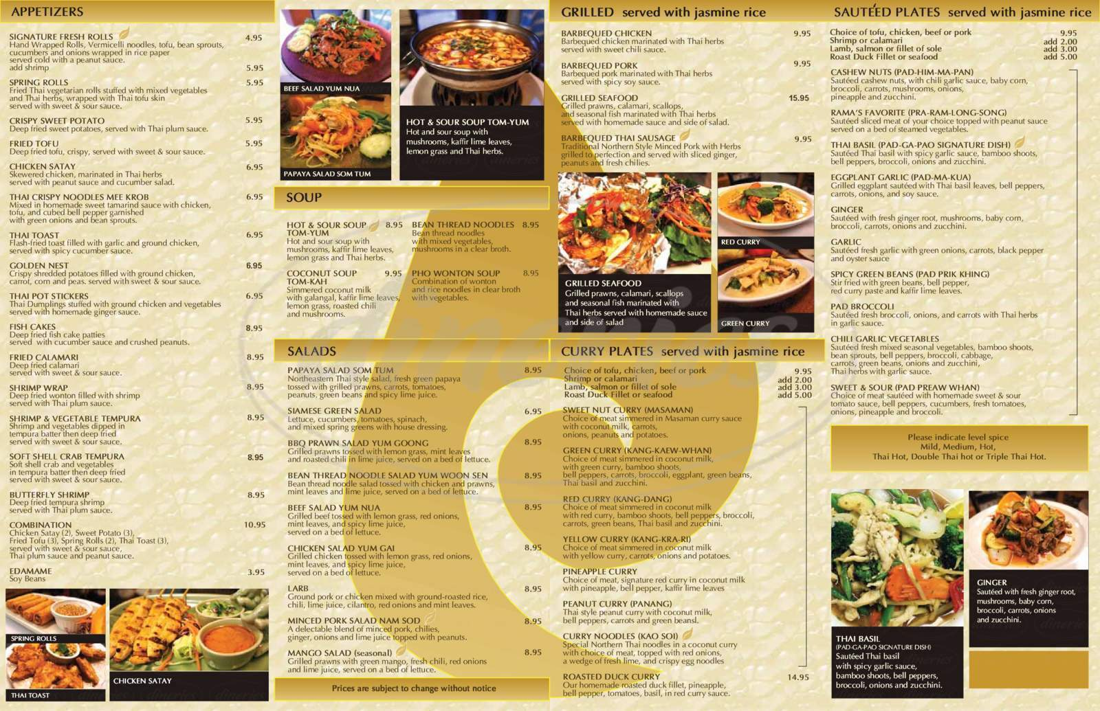 Big menu for Thai Basil, Scottsdale