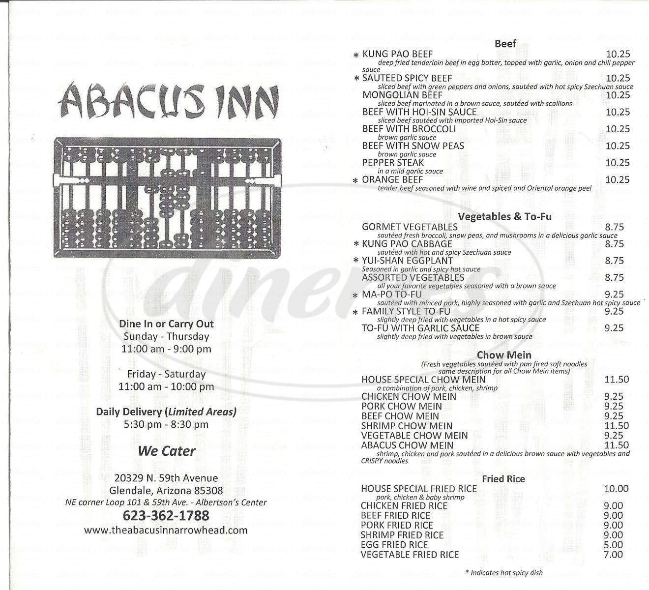 menu for Abacus Inn Chinese Restaurant-Arrowhead