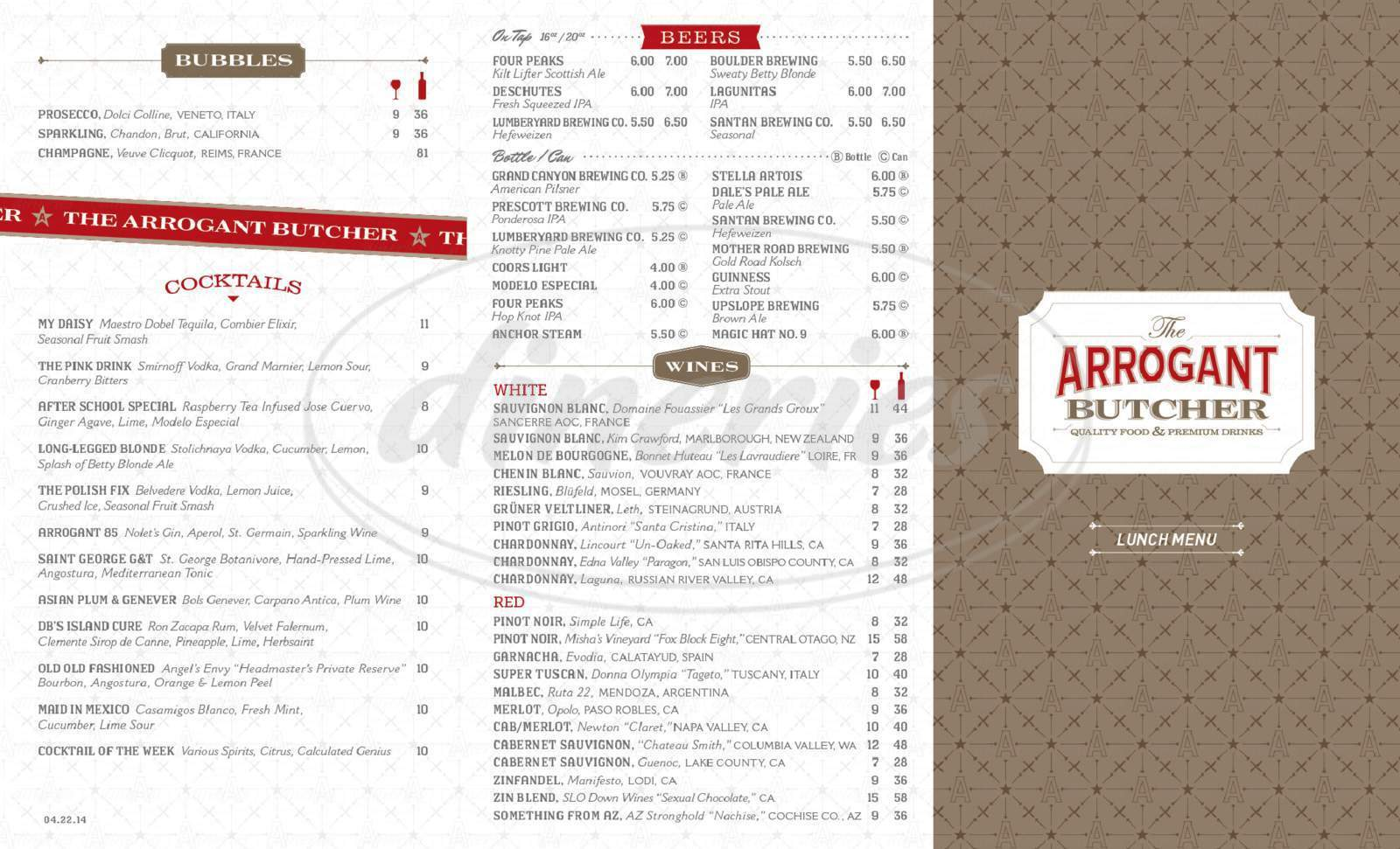 menu for The Arrogant Butcher
