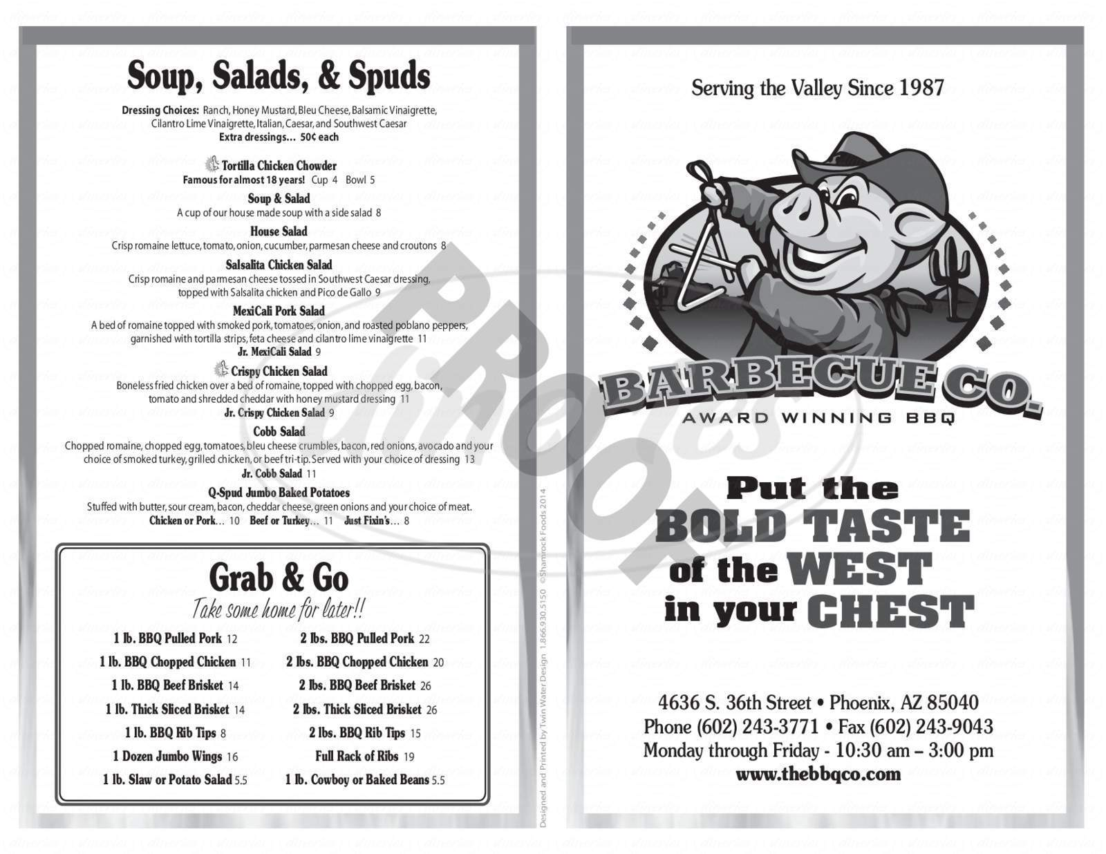 menu for The Barbecue Company