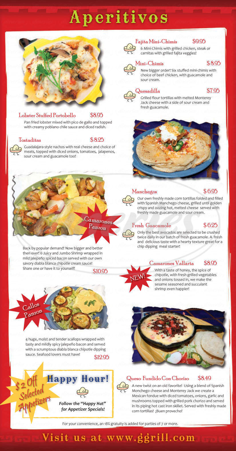 menu for Guadalajara Fiesta Grill