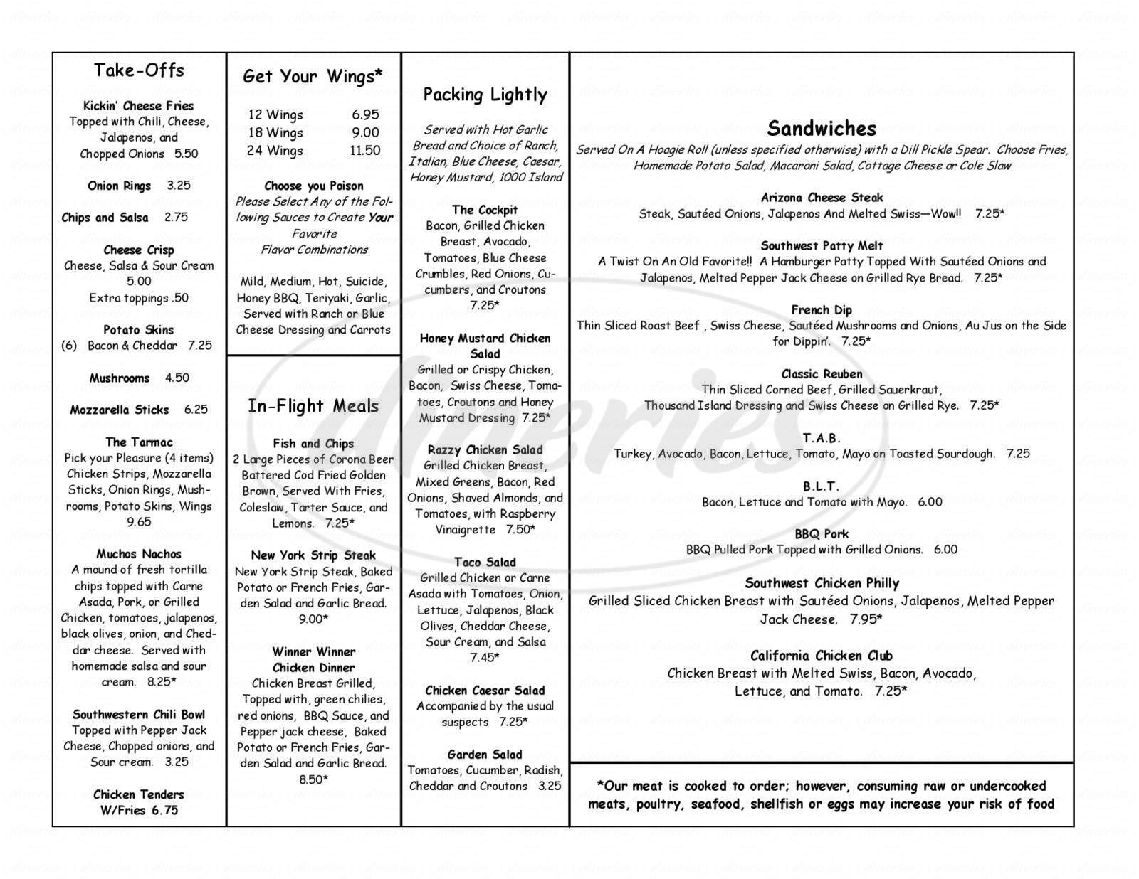 menu for Flight Line