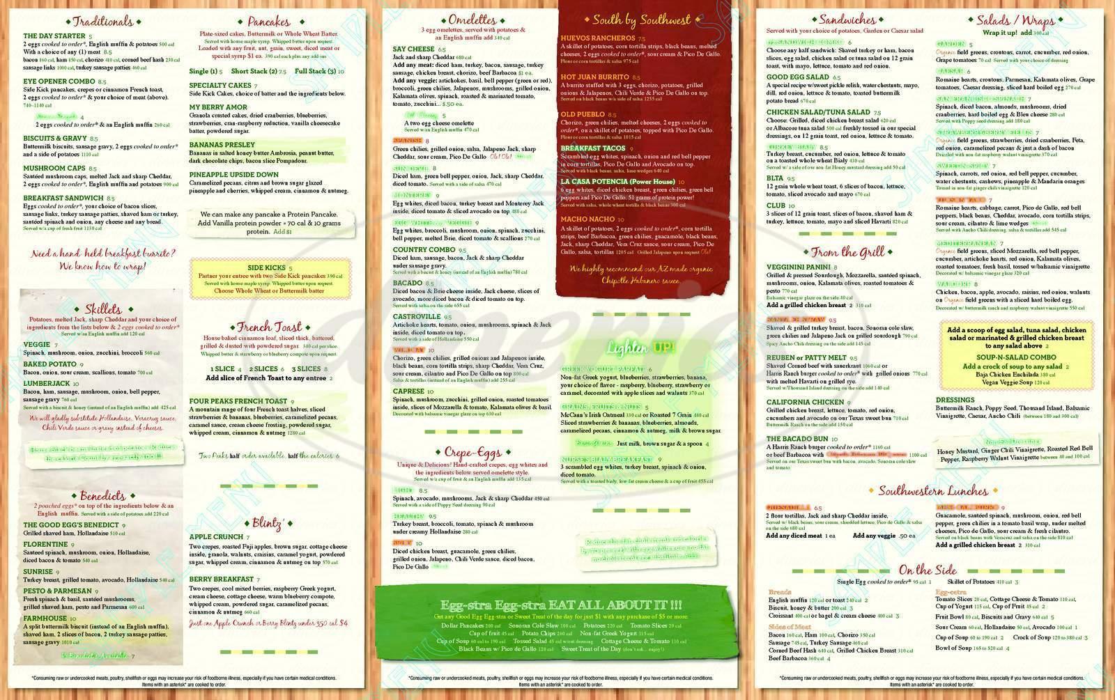 menu for The Good Egg
