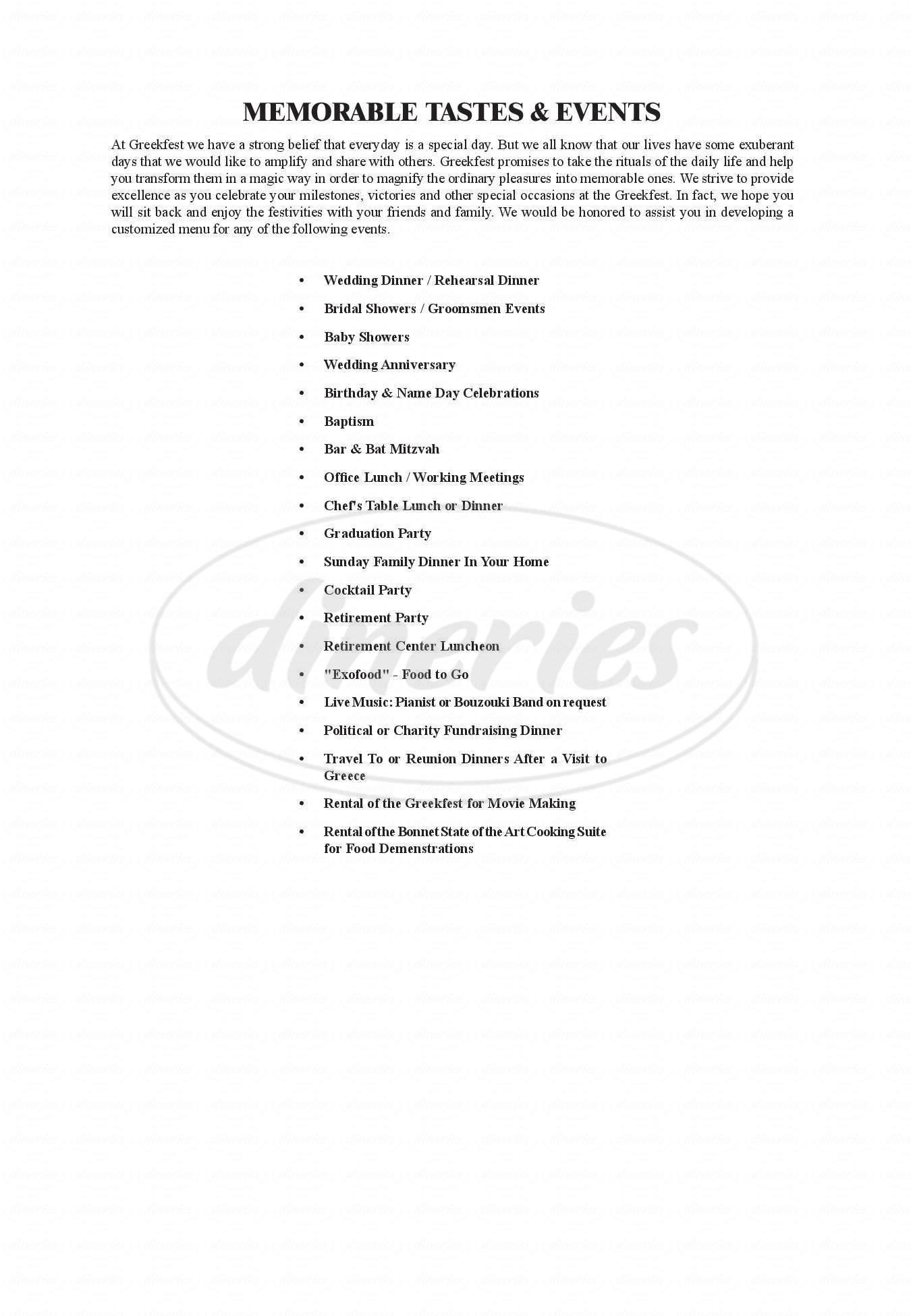 menu for Greekfest Restaurant