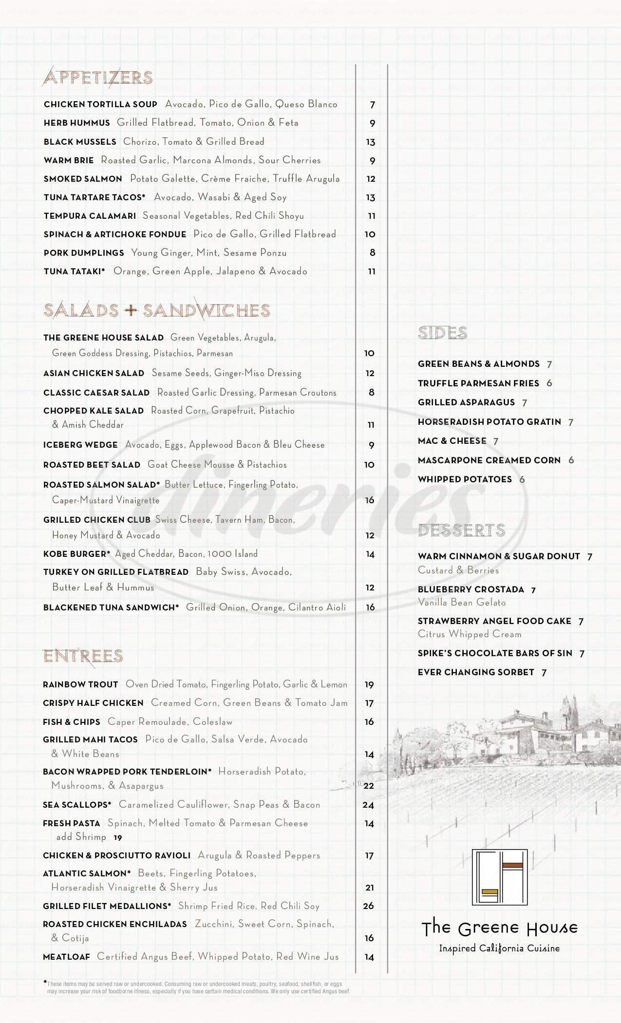 menu for The Greene House