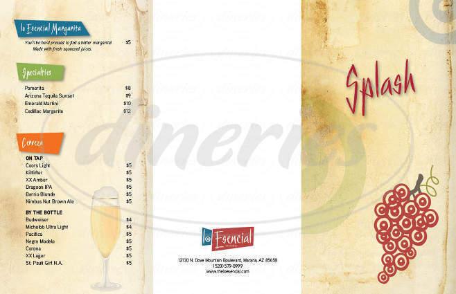 menu for Lo Esencial
