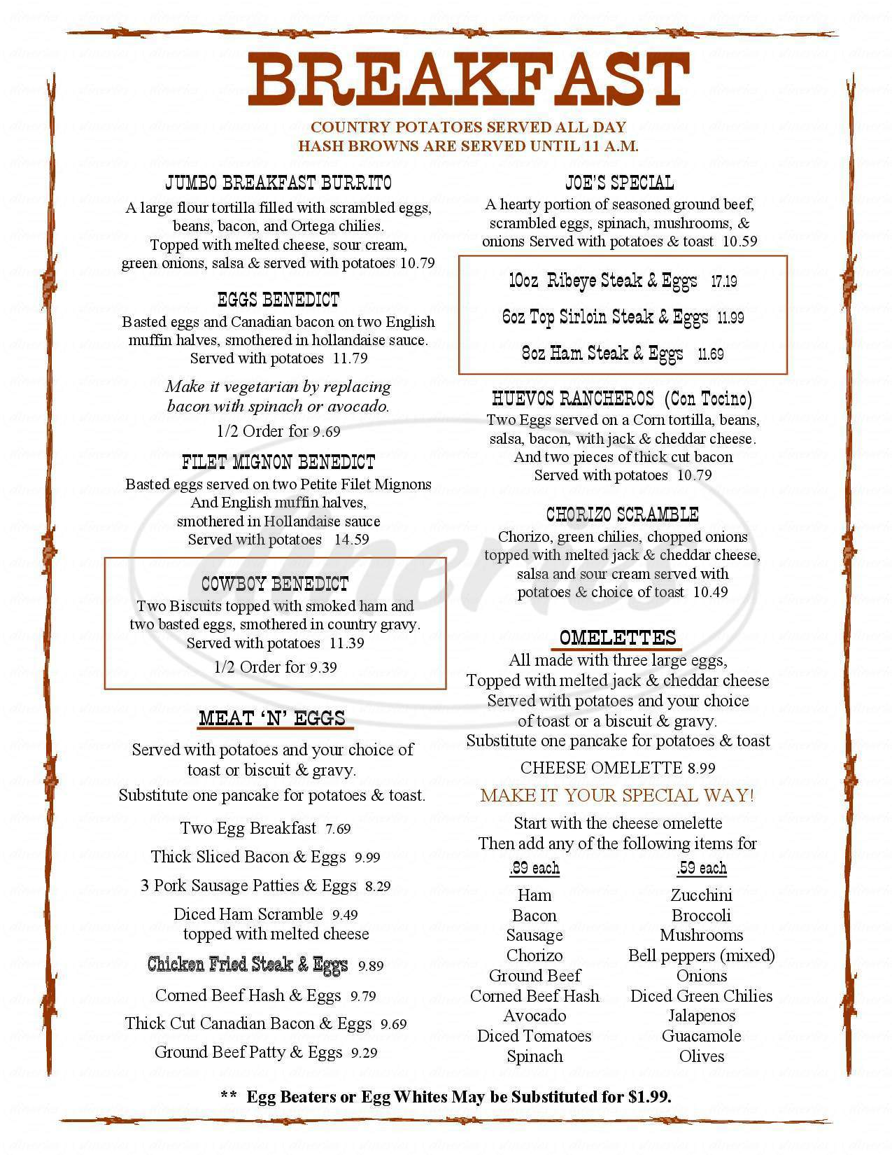 menu for The Lone Spur Cafe