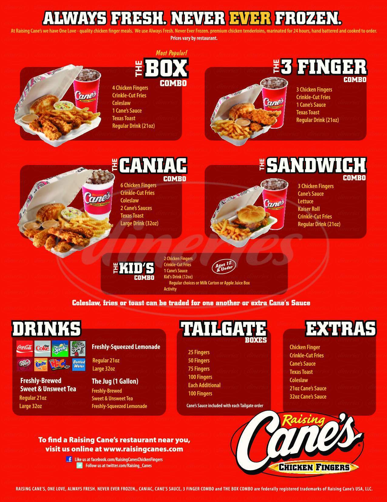 menu for Raising Cane's Chicken Fingers