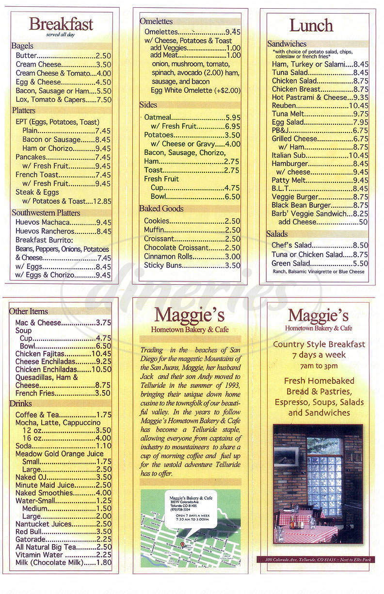 menu for Maggie's Bakery and Cafe