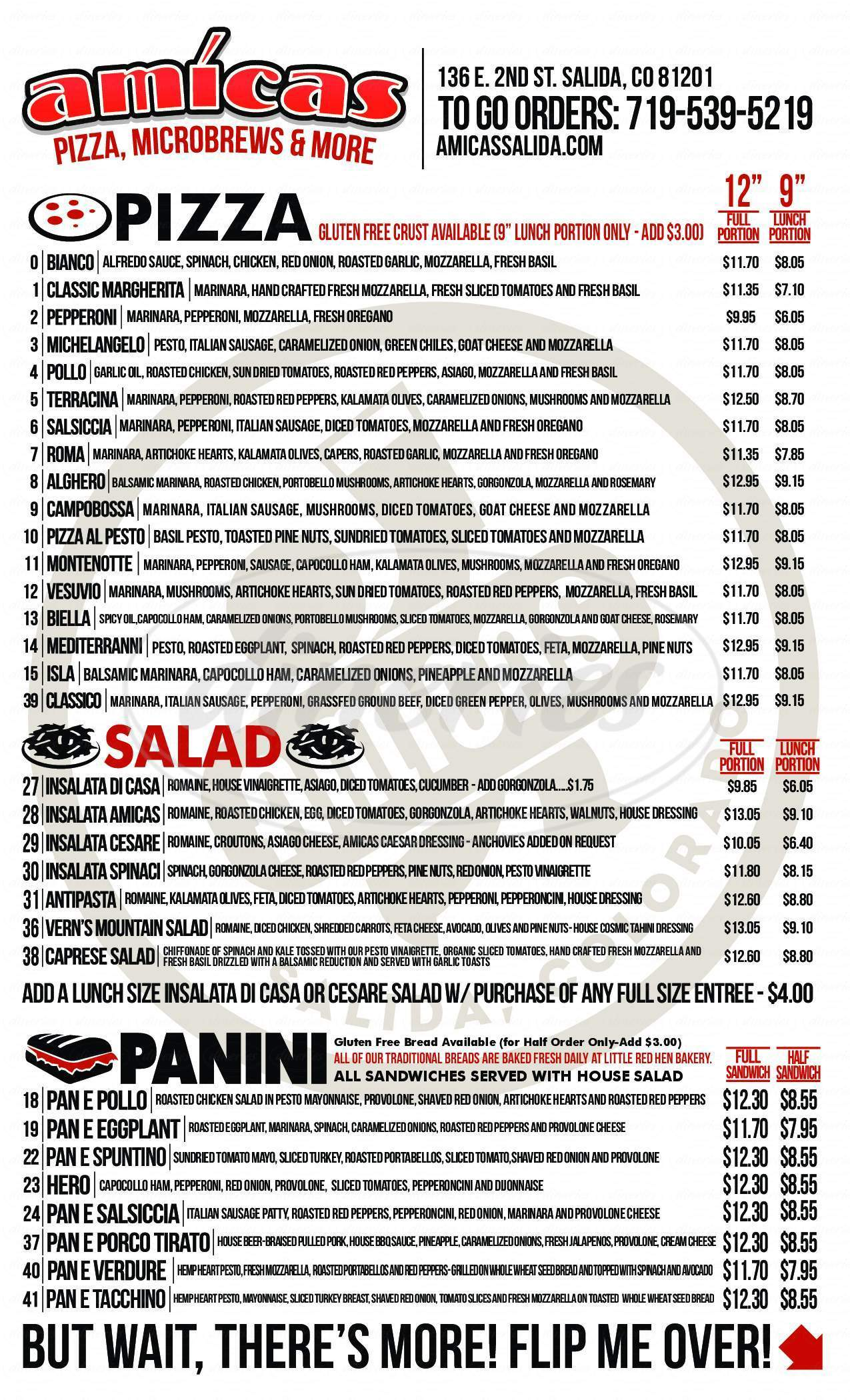 menu for Amicas Pizza & Microbrewery