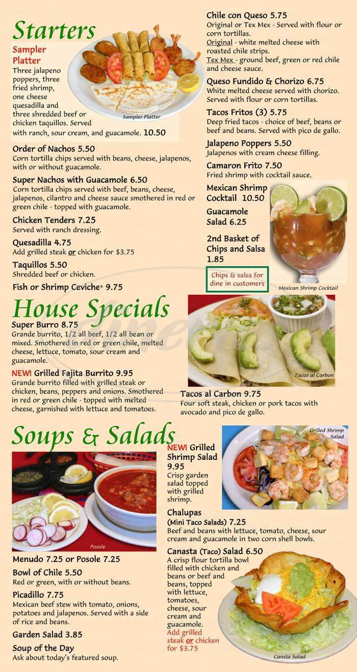 menu for Los Arcos