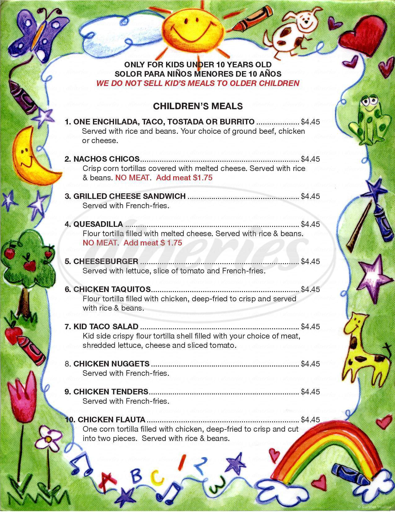 menu for Aztecas Family Mexican Restaurant