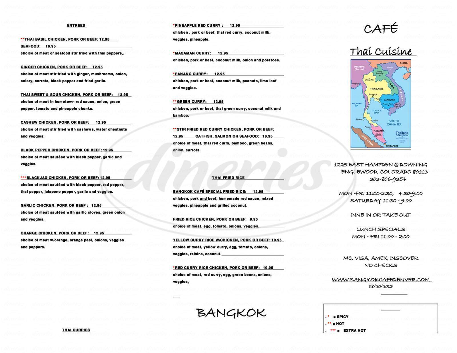 menu for Bangkok Cafe