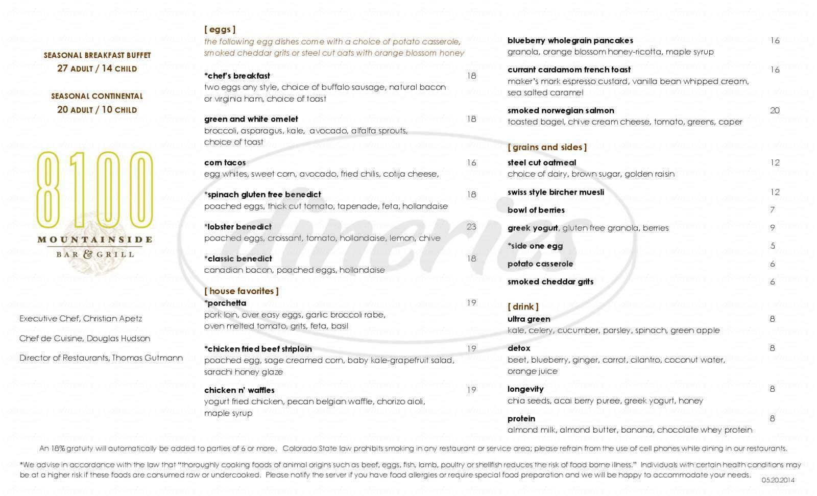 menu for 8100 Mountainside Bar & Grill