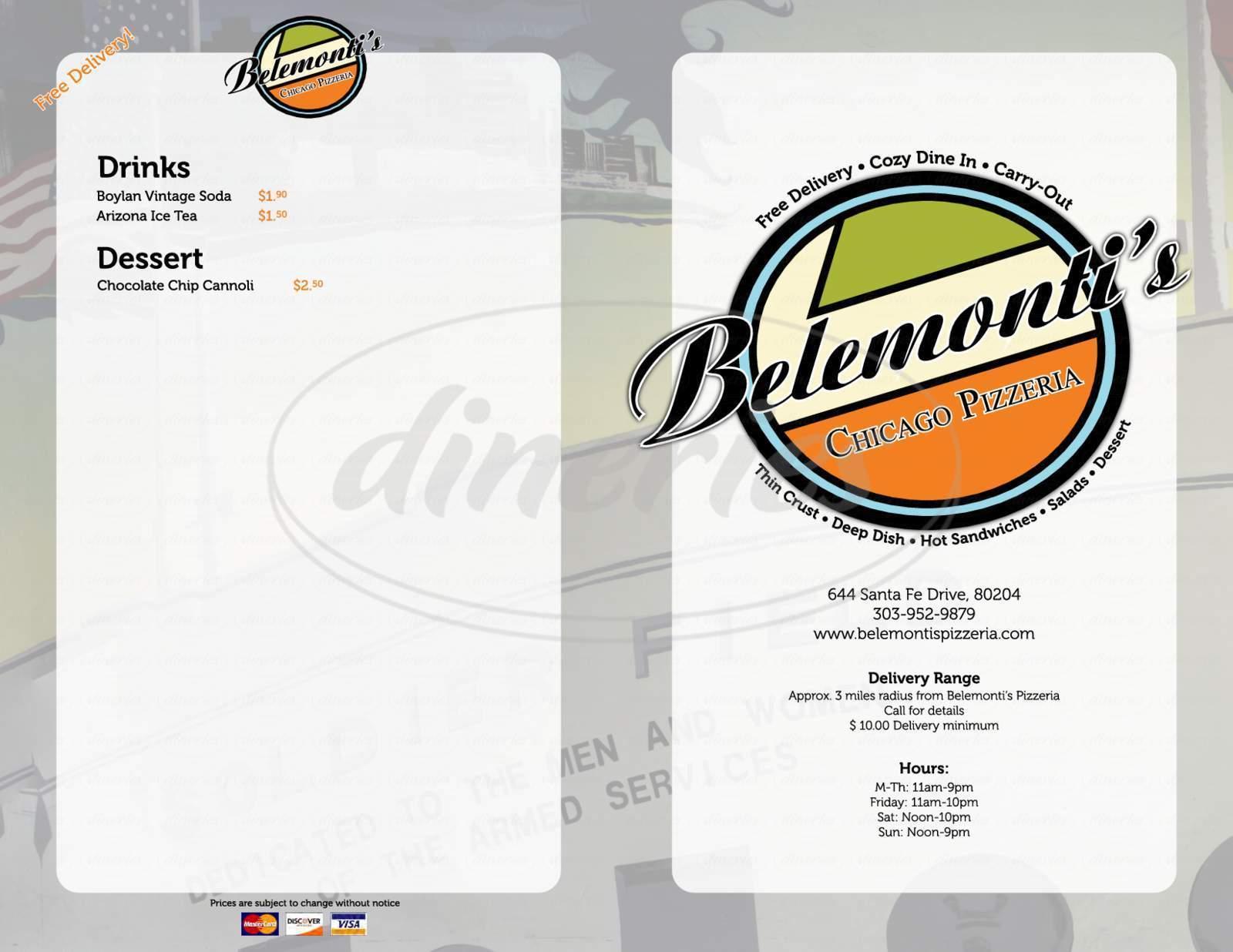 menu for Belemonti's Chicago Pizzeria