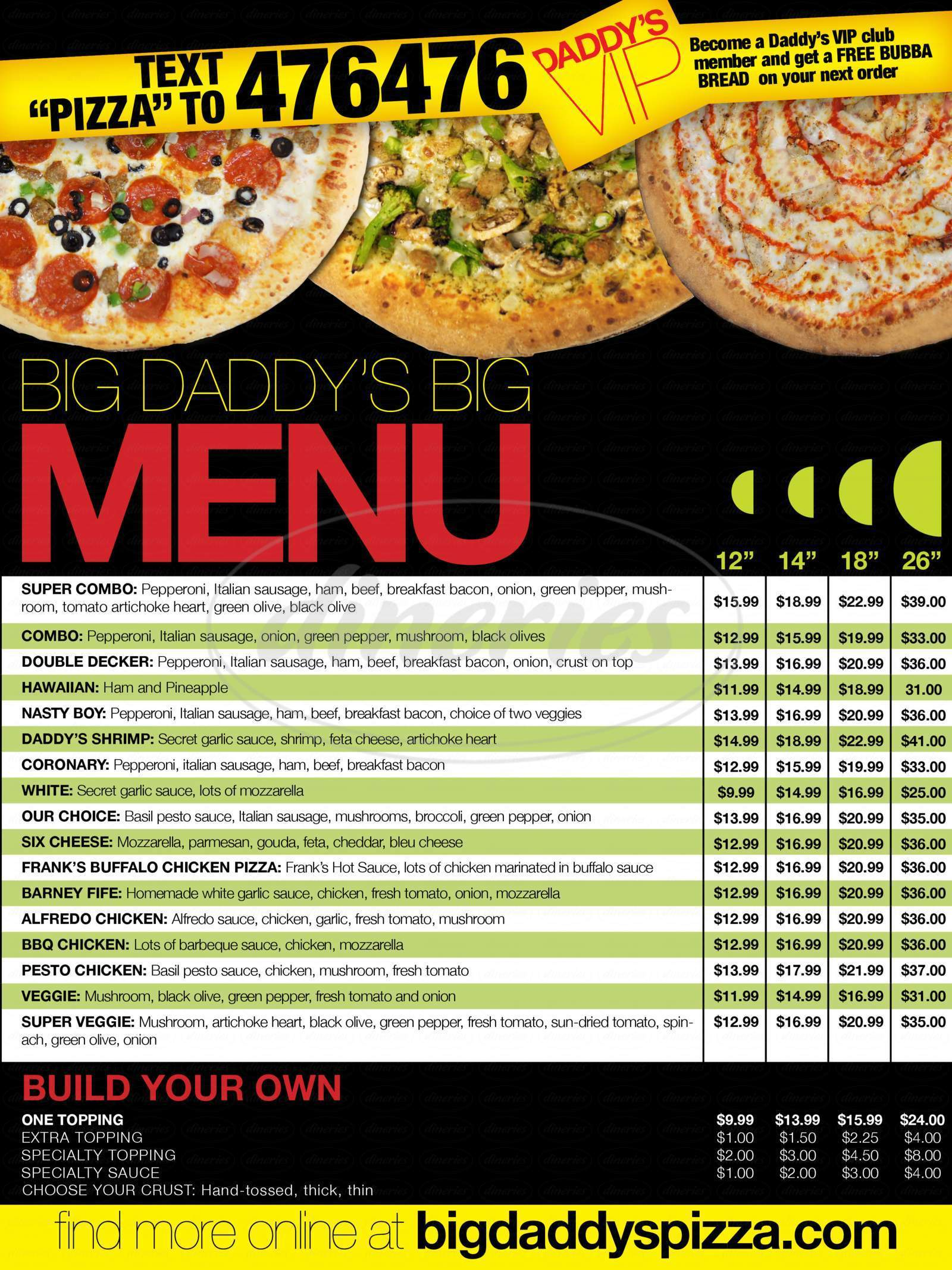 menu for Big Daddy's Pizza
