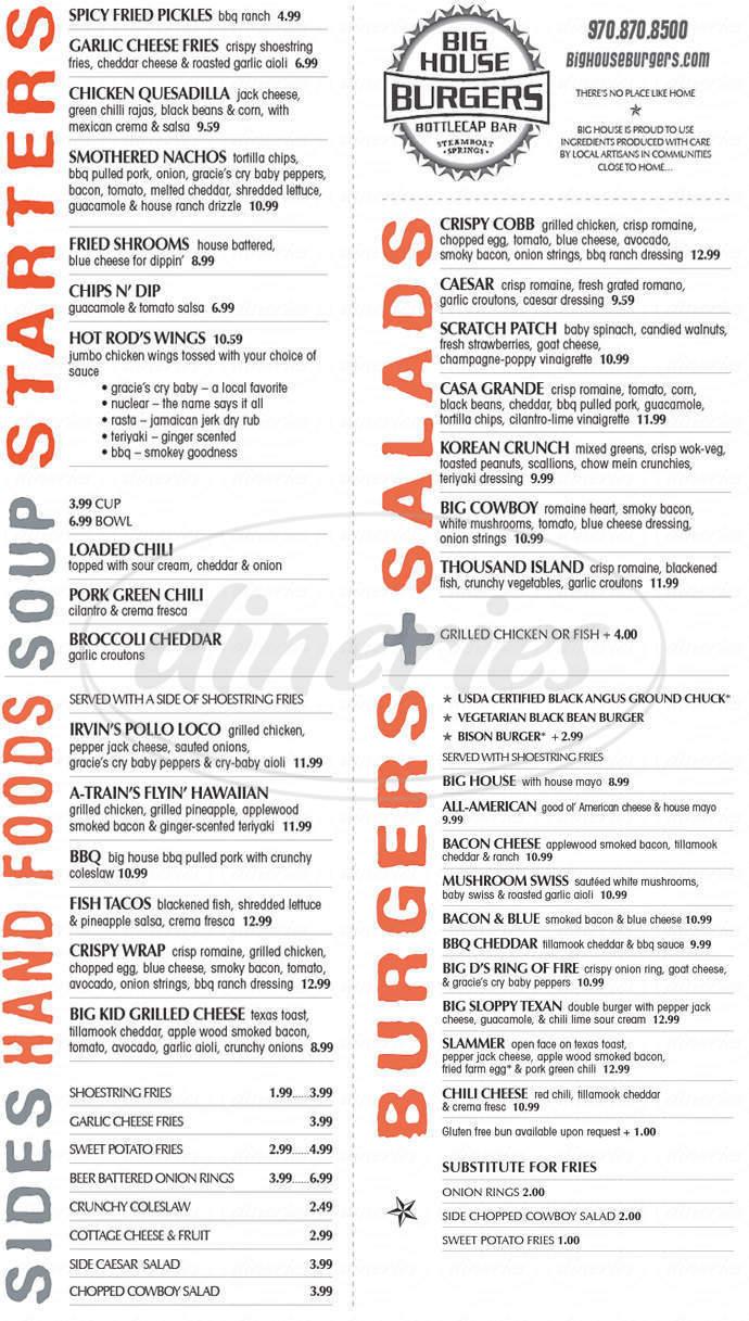 menu for Big House Burgers & Bottlecap Bar