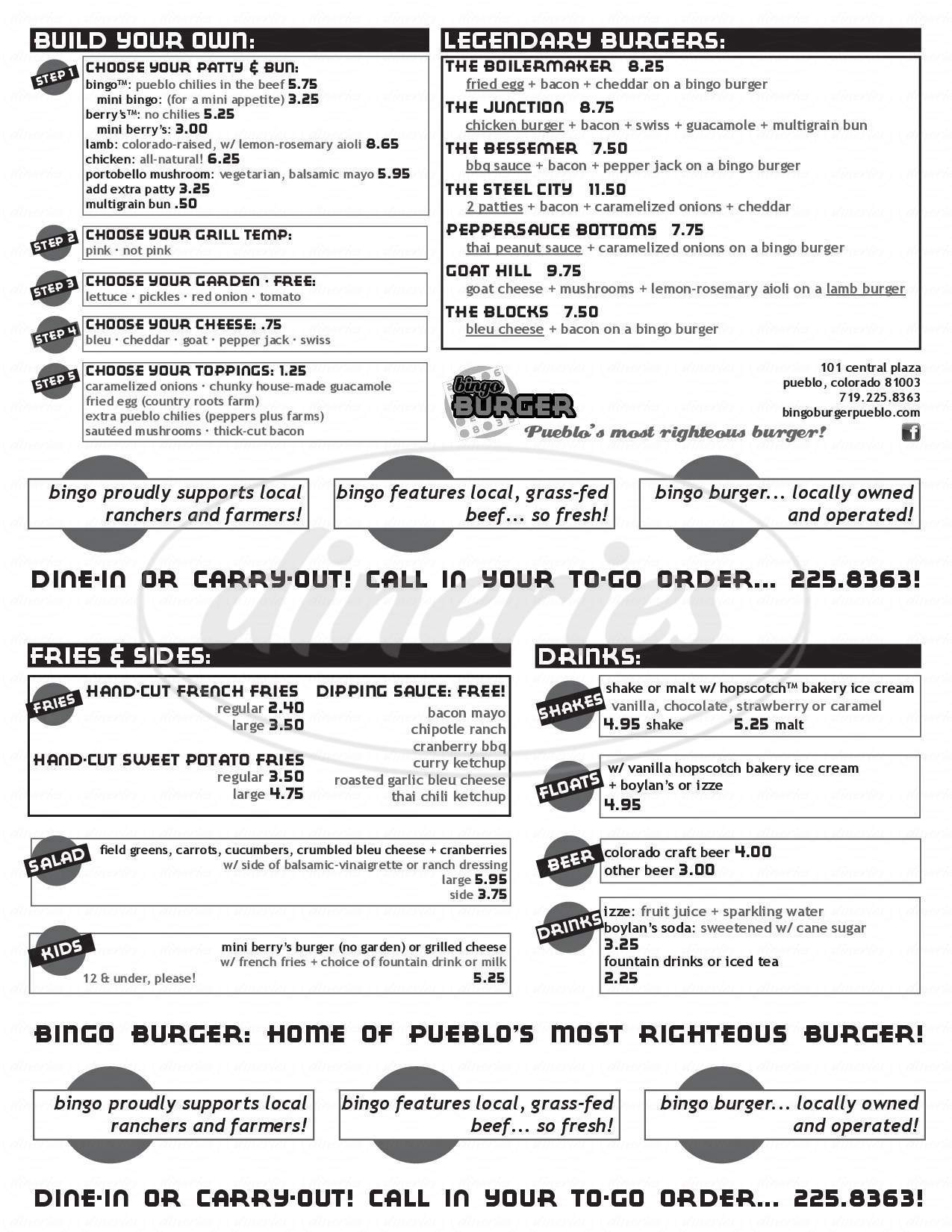 menu for Bingoburger