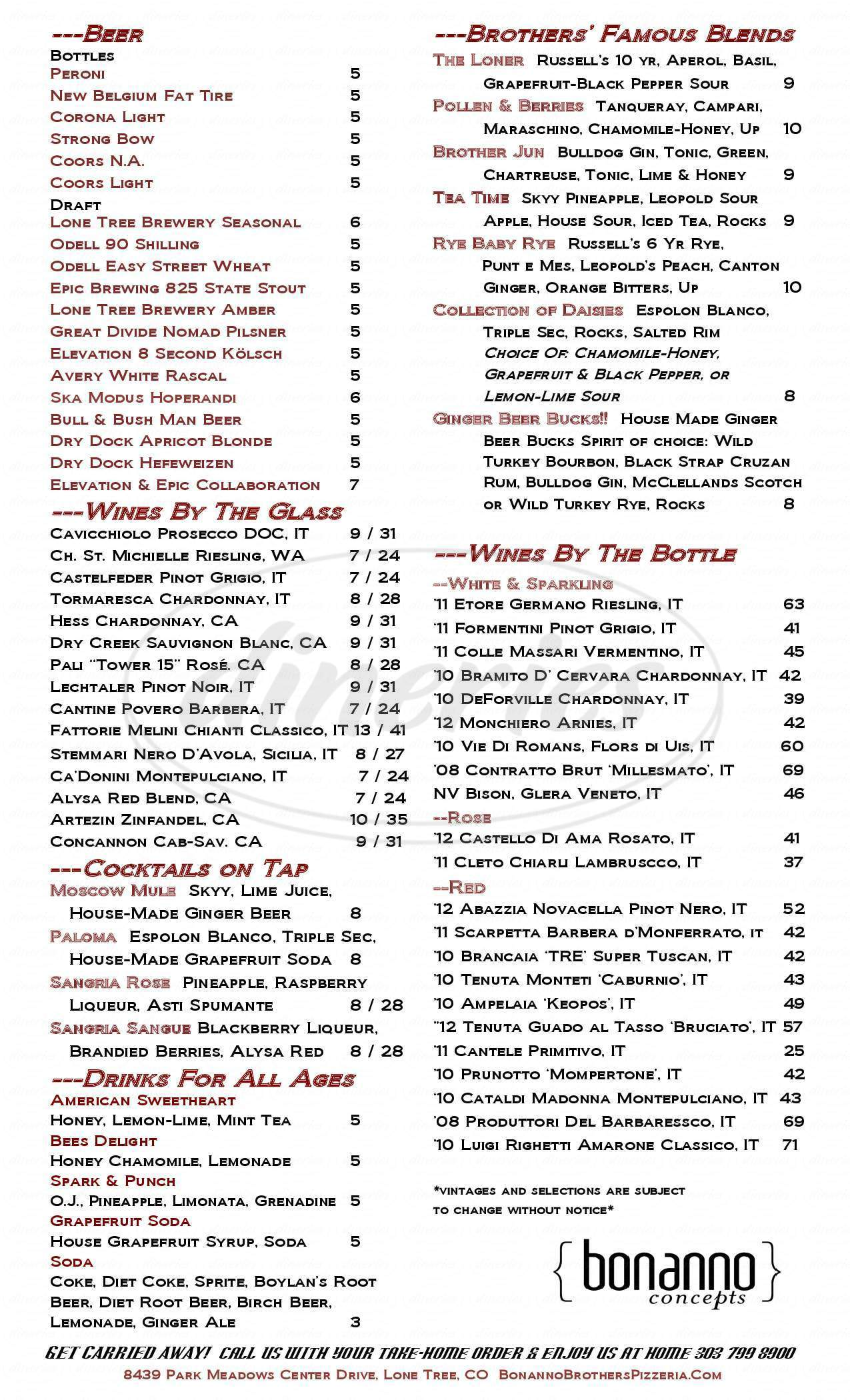 menu for Bonanno Brothers Pizzeria