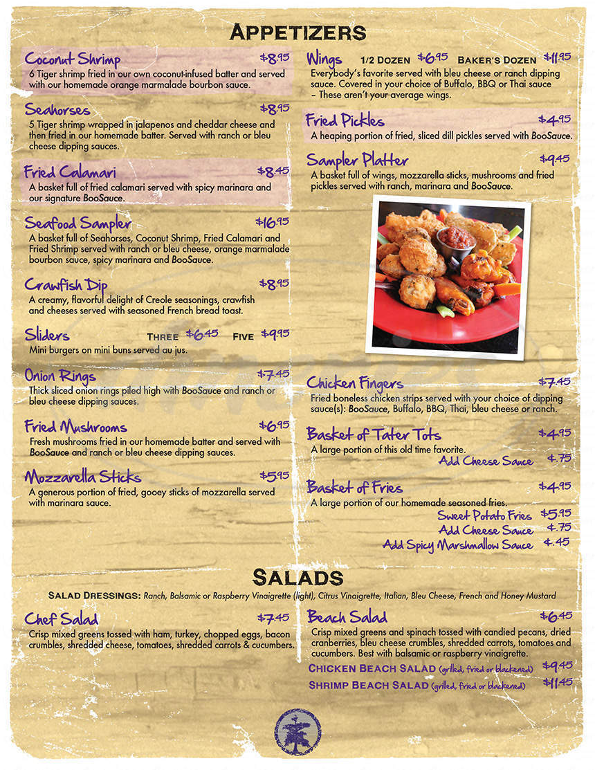 menu for BooDad's Beach House Grill