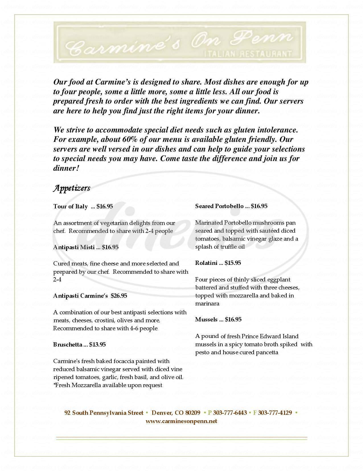 menu for Carmine's On Penn